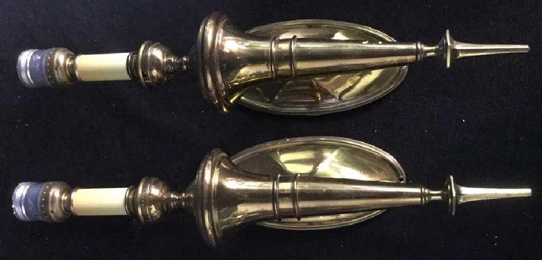 Pair of Vintage Torch Form Brass wall Sconces