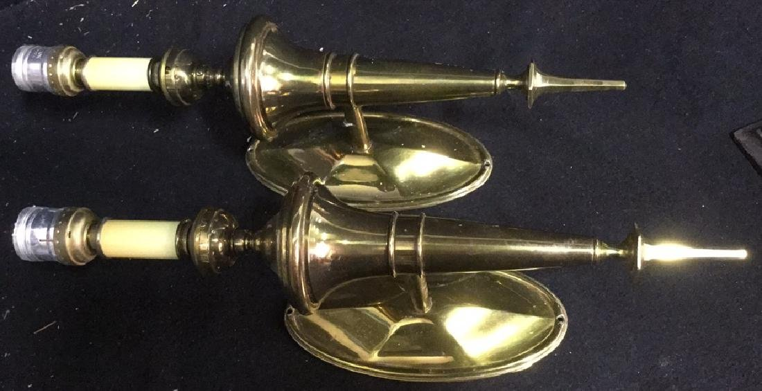 Pair of Vintage Torch Form Brass wall Sconces - 2