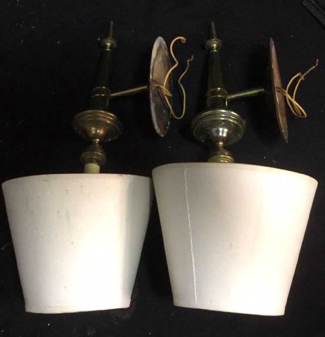 Pair of Vintage Torch Form Brass wall Sconces - 5