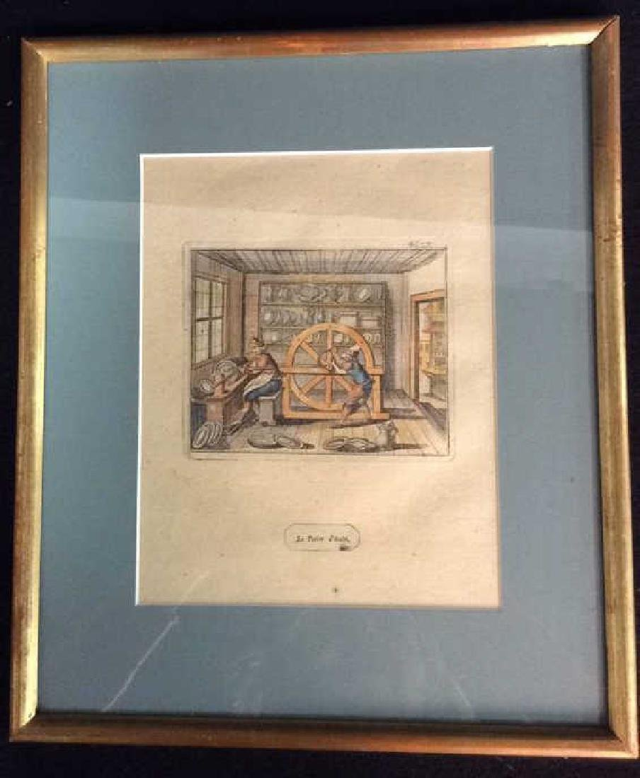 Antique French Hand colored Engraving