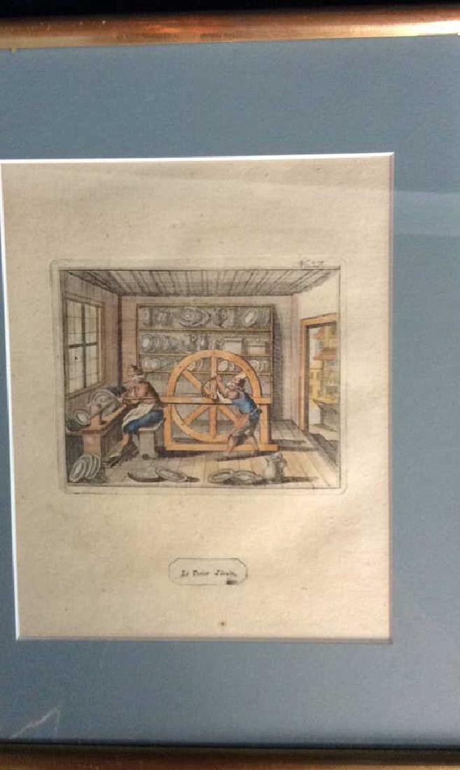 Antique French Hand colored Engraving - 2