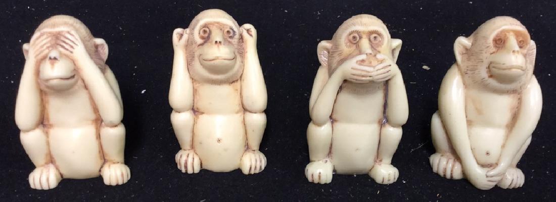 4 Wise Monkey Figurines