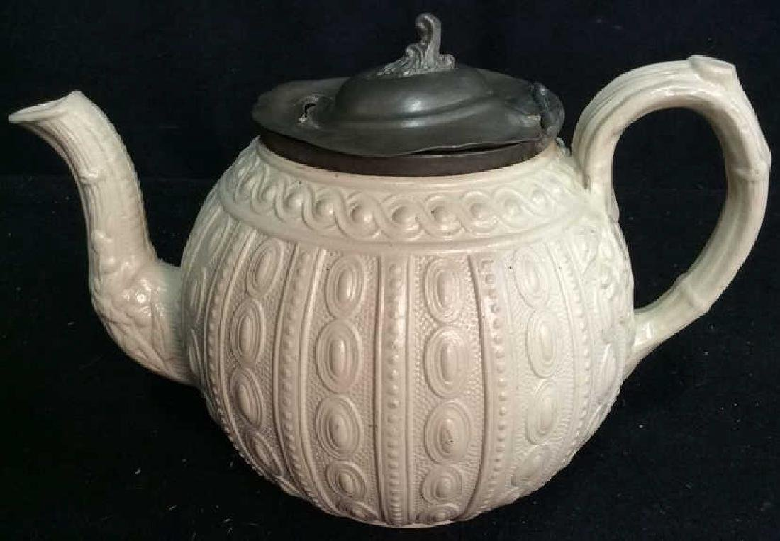 English Molded Salt Glazed Teapot C 1860