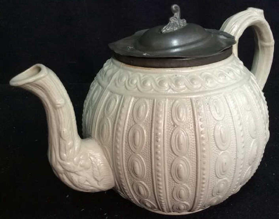English Molded Salt Glazed Teapot C 1860 - 2