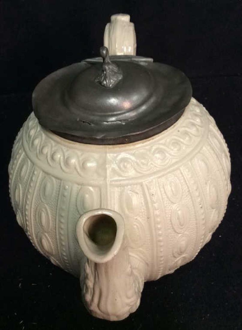 English Molded Salt Glazed Teapot C 1860 - 3