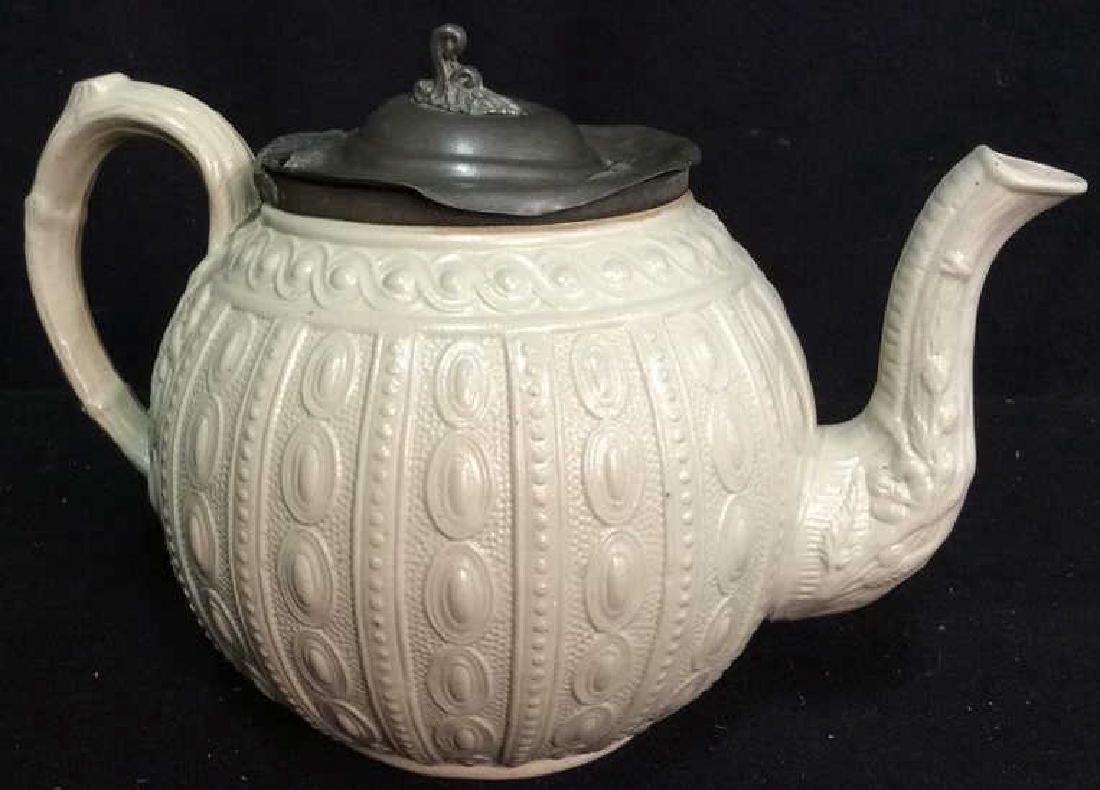 English Molded Salt Glazed Teapot C 1860 - 4