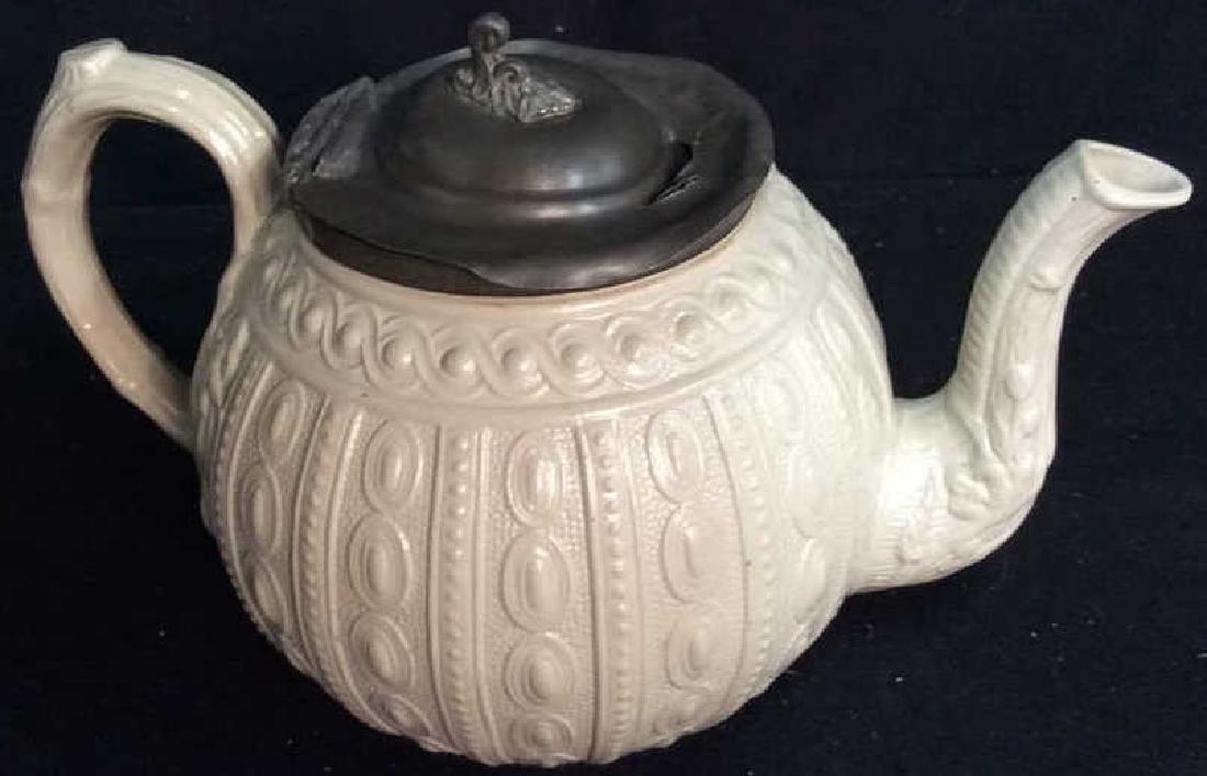 English Molded Salt Glazed Teapot C 1860 - 5