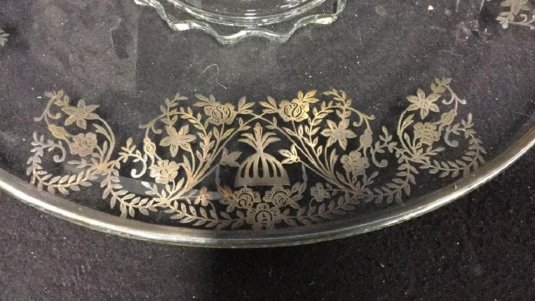 Vintage silver on Glass Cake Plate - 2