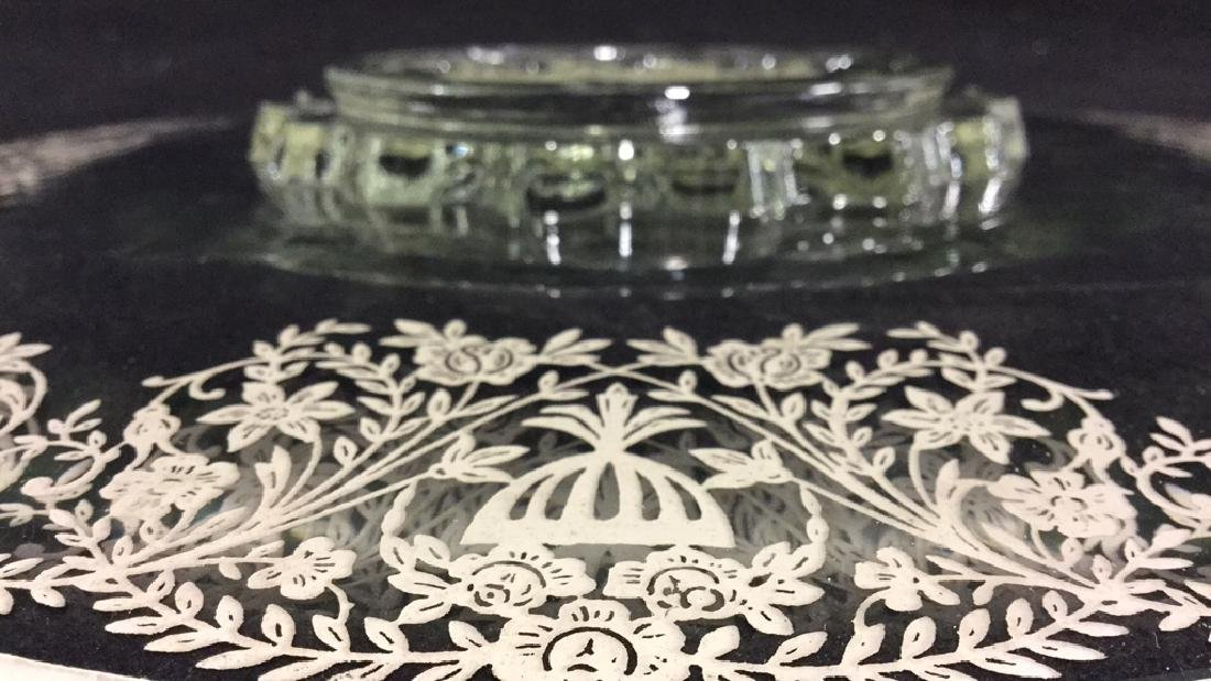 Vintage silver on Glass Cake Plate - 5