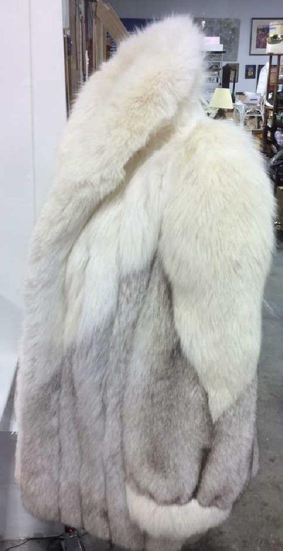 White And Silver Fox Fur Jacket - 2