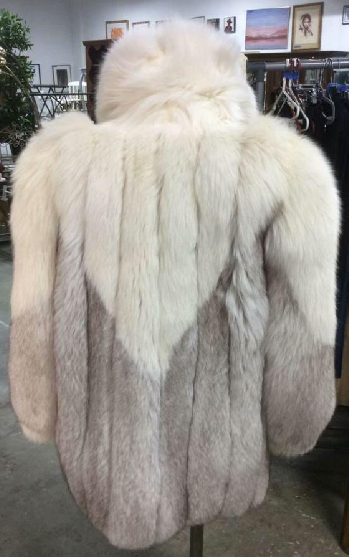 White And Silver Fox Fur Jacket - 3