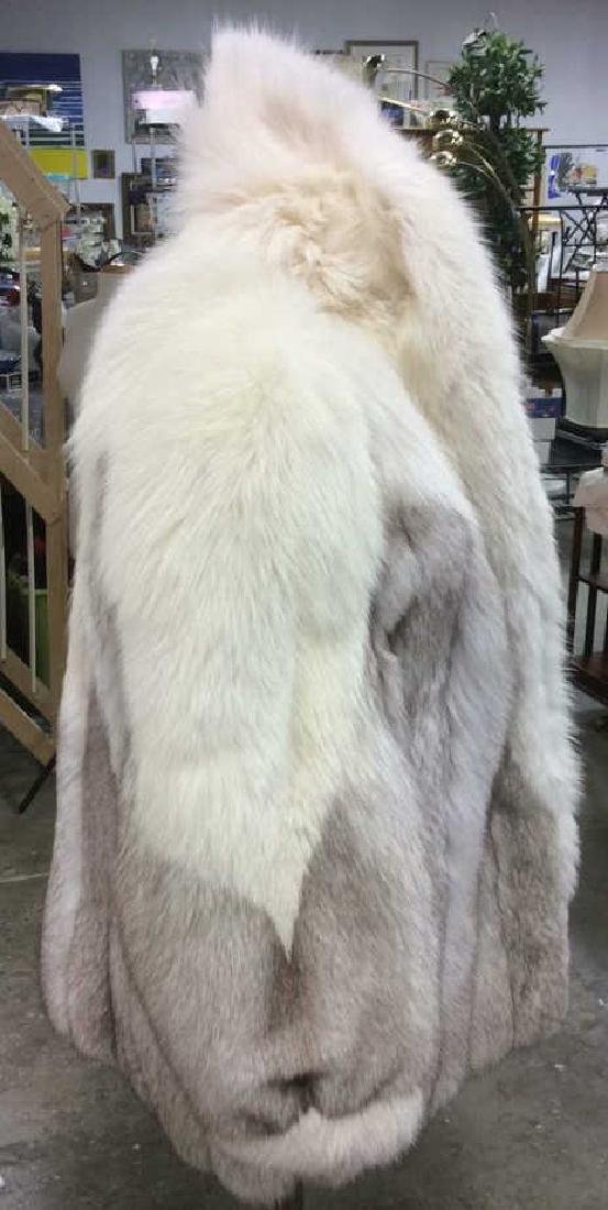White And Silver Fox Fur Jacket - 4