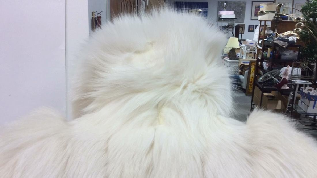 White And Silver Fox Fur Jacket - 5