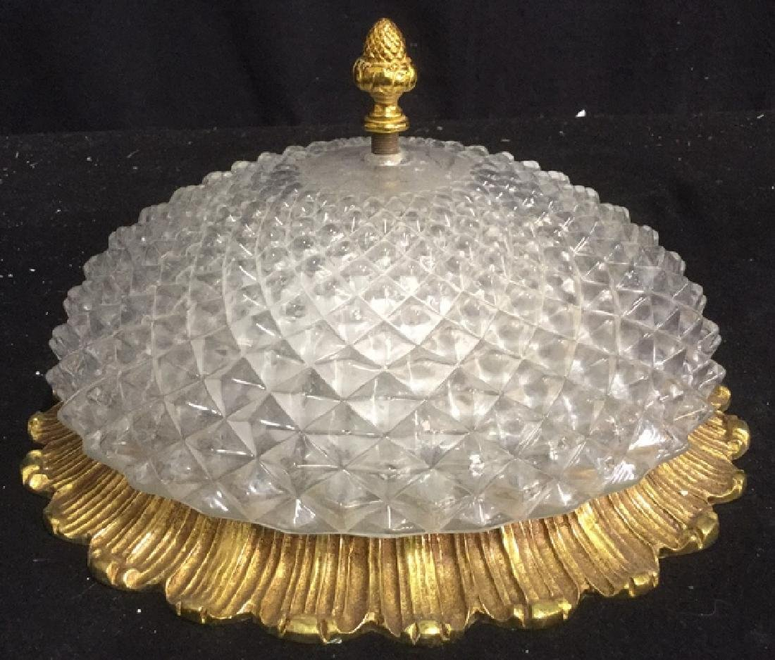 Vintage Gold Tone Pressed Glass Light Fixture