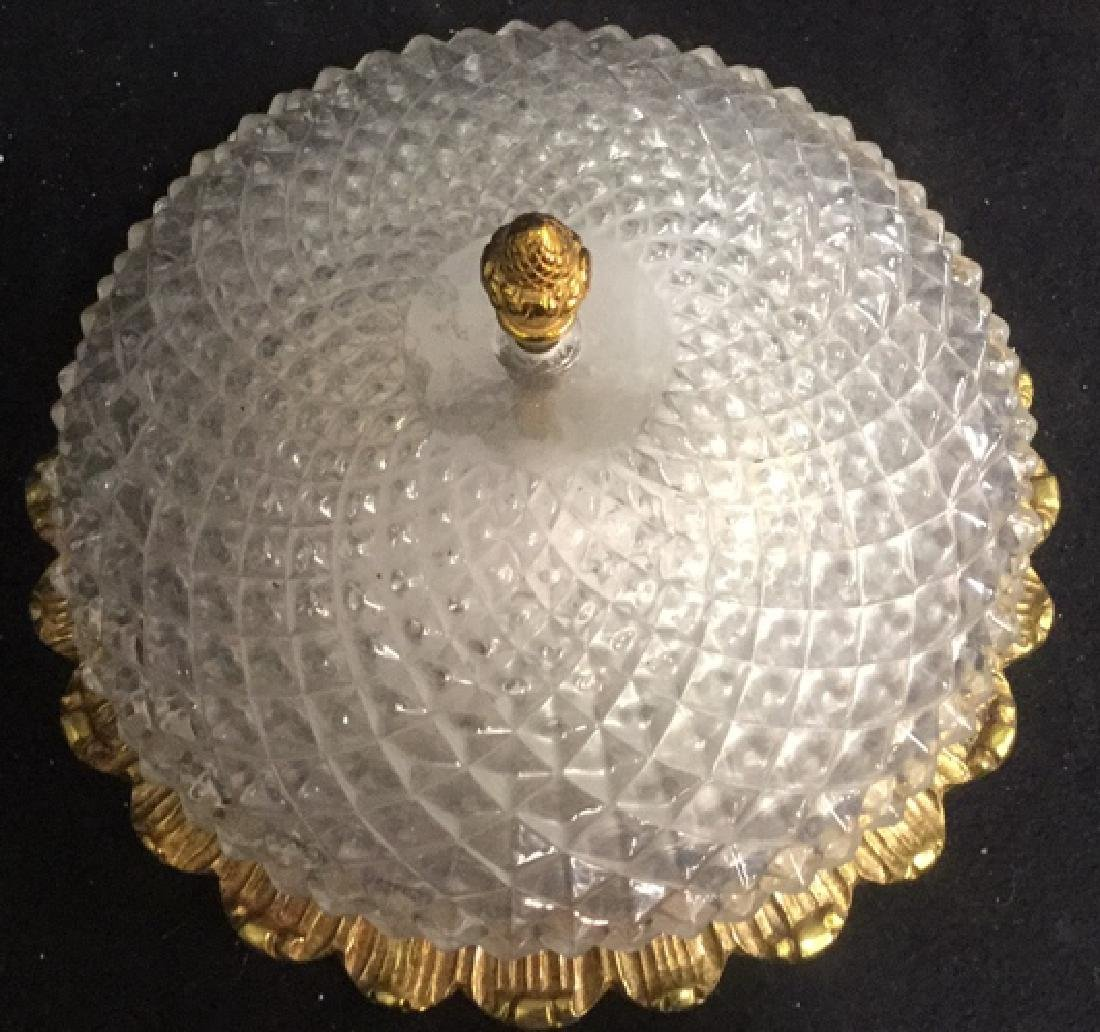 Vintage Gold Tone Pressed Glass Light Fixture - 6