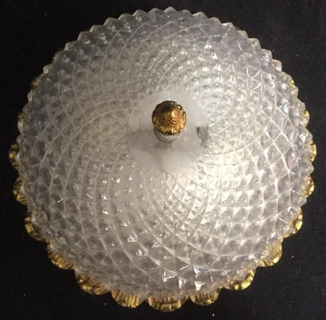 Vintage Gold Tone Pressed Glass Light Fixture - 7