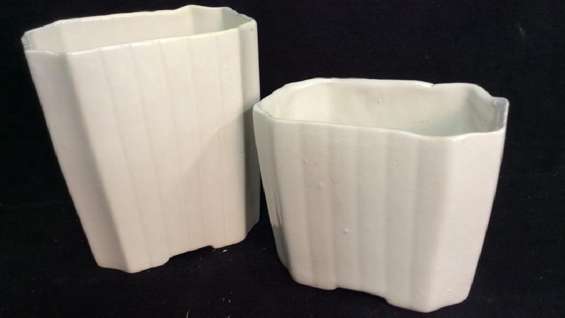 2 Vintage White Fluted Vases Signed