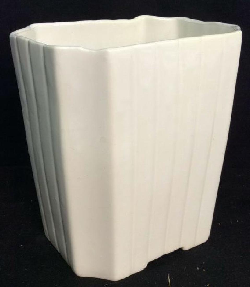 2 Vintage White Fluted Vases Signed - 2