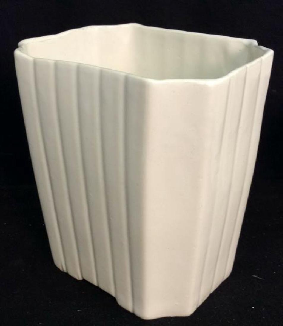 2 Vintage White Fluted Vases Signed - 3