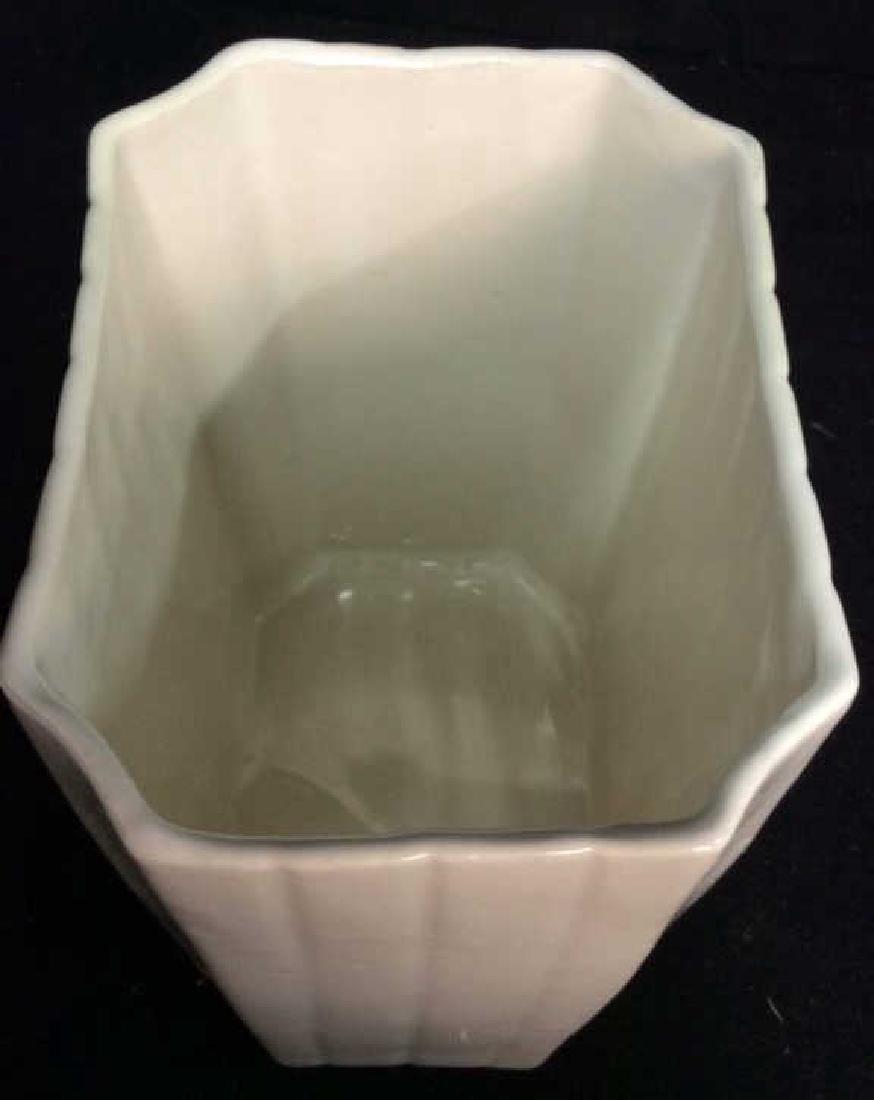 2 Vintage White Fluted Vases Signed - 4