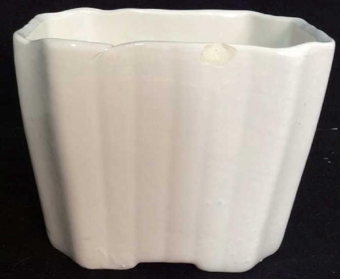 2 Vintage White Fluted Vases Signed - 6