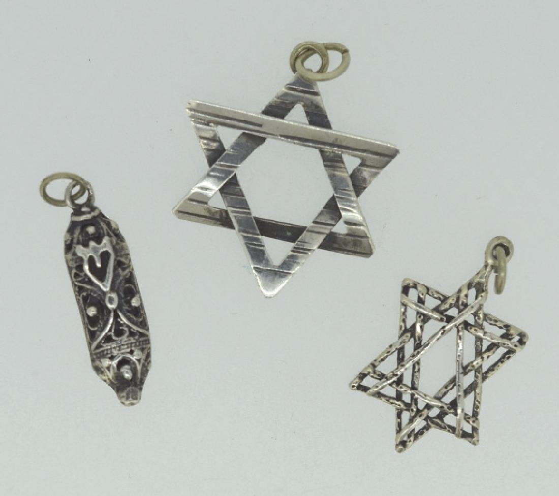 Trio Of Sterling Silver Judaism Charms / Pendants