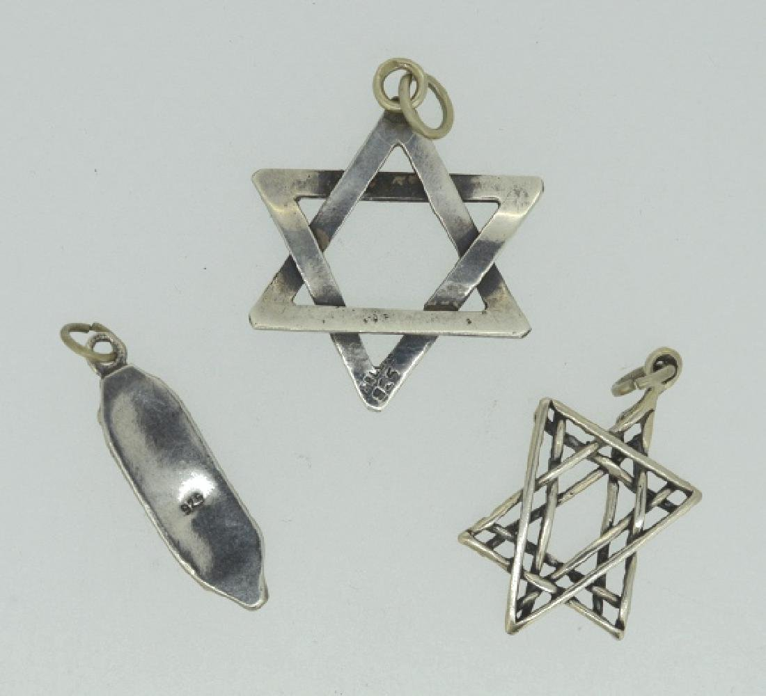 Trio Of Sterling Silver Judaism Charms / Pendants - 2