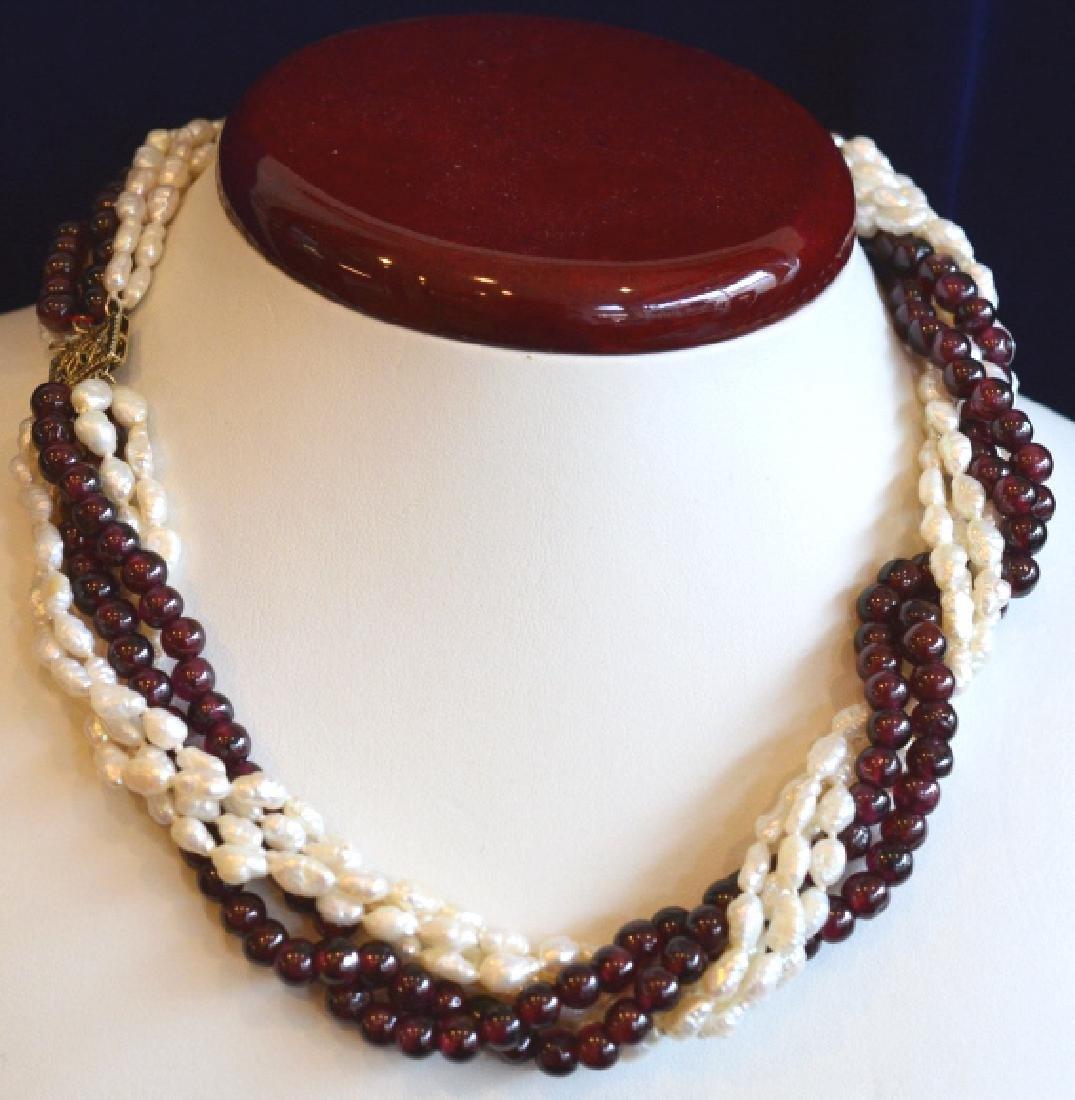 "16"" Multi Strand Twist Pearl & Garnet Necklace"
