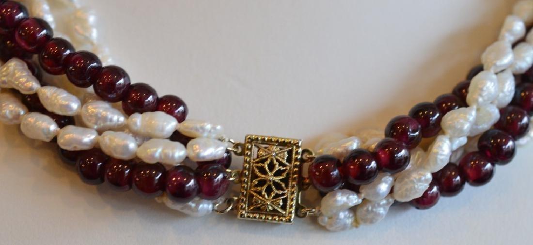 "16"" Multi Strand Twist Pearl & Garnet Necklace - 3"