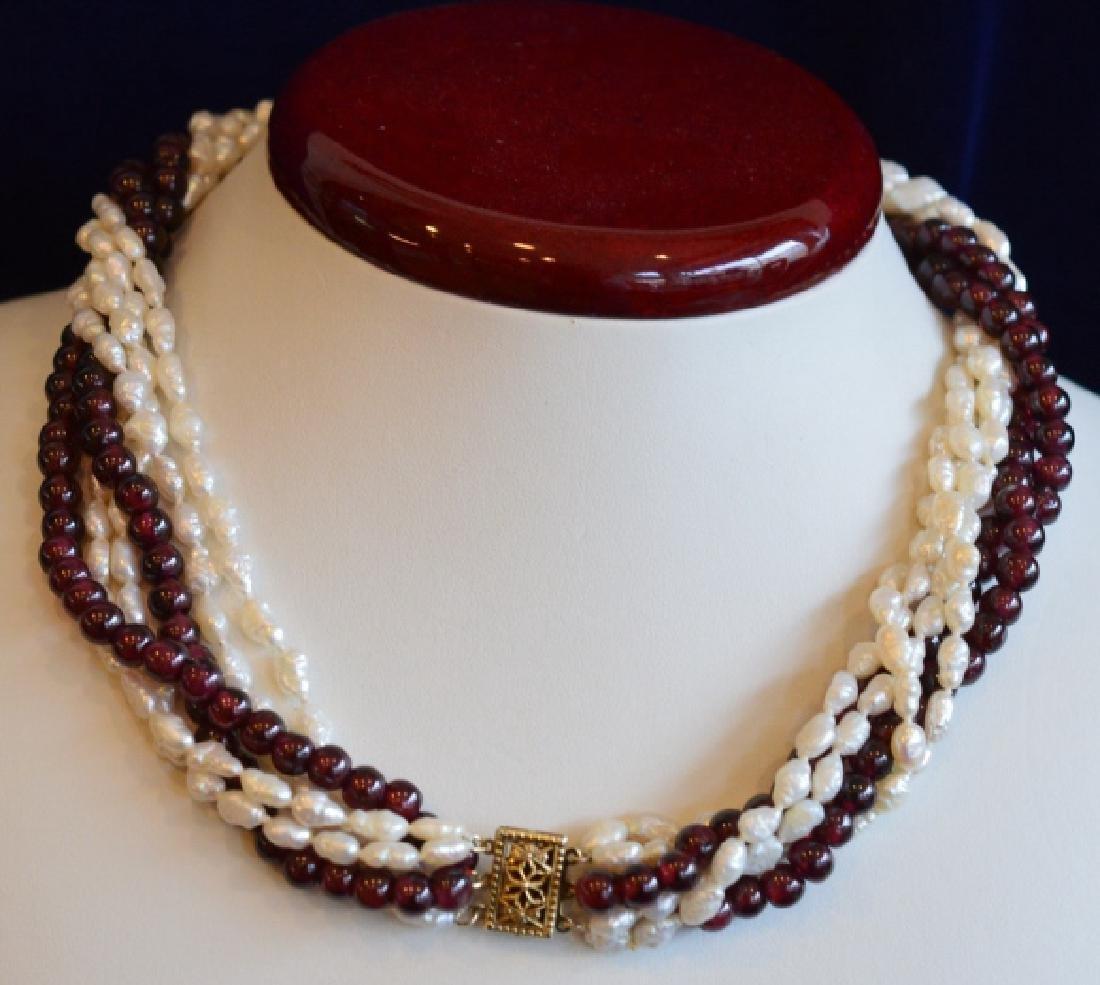 "16"" Multi Strand Twist Pearl & Garnet Necklace - 4"