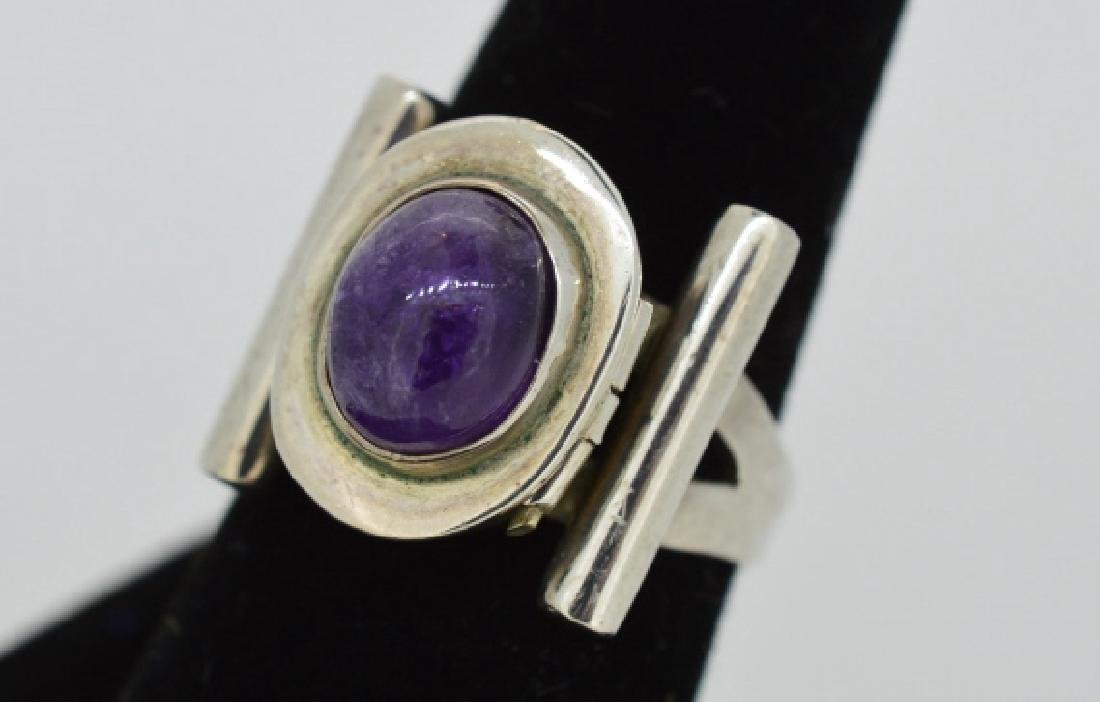 Vintage Sterling Poison Pill Silver & Amethyst Rin - 4