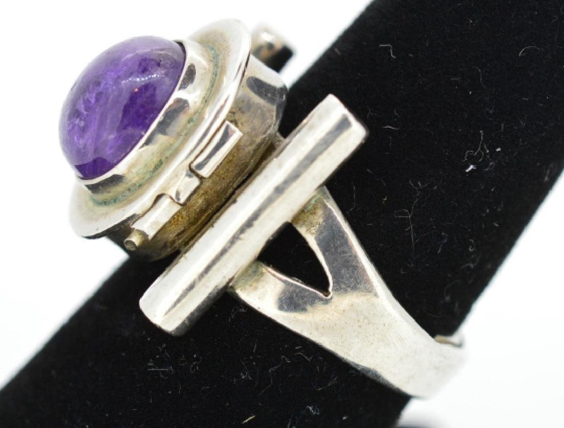 Vintage Sterling Poison Pill Silver & Amethyst Rin - 5