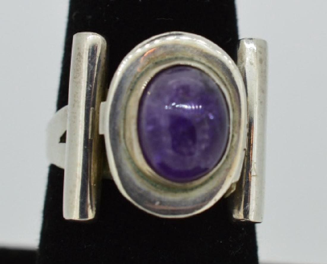 Vintage Sterling Poison Pill Silver & Amethyst Rin - 6
