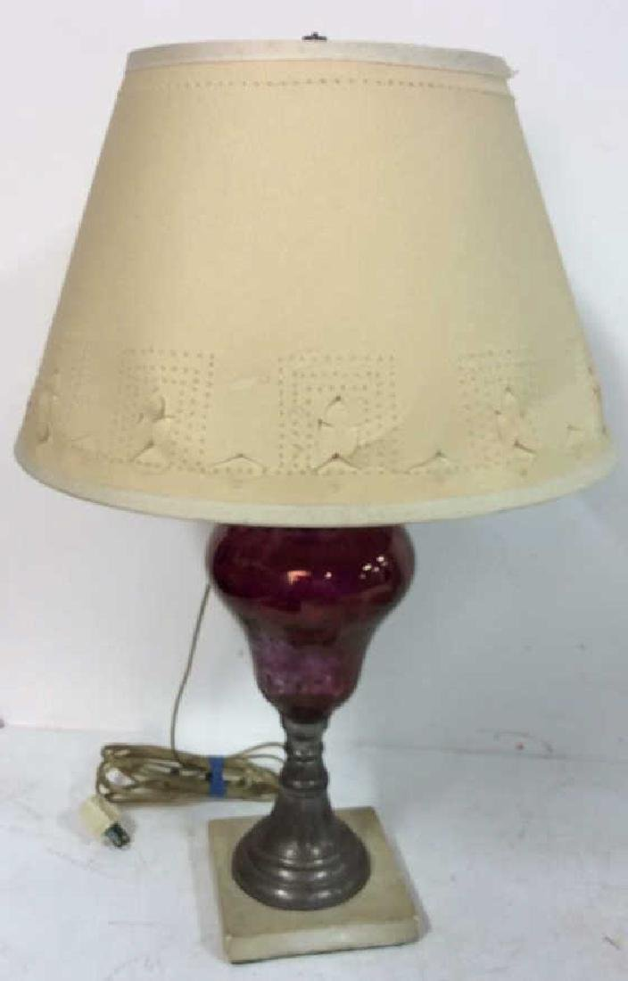 Pair Cranberry Glass Marble Base Lamps - 5
