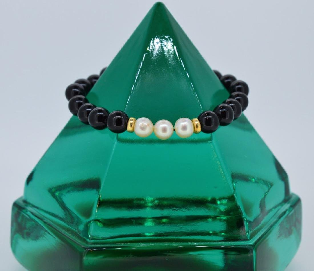 Black Onyx & Pearl Bracelet with Gold Spacers