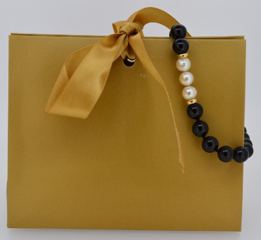 Black Onyx & Pearl Bracelet with Gold Spacers - 2