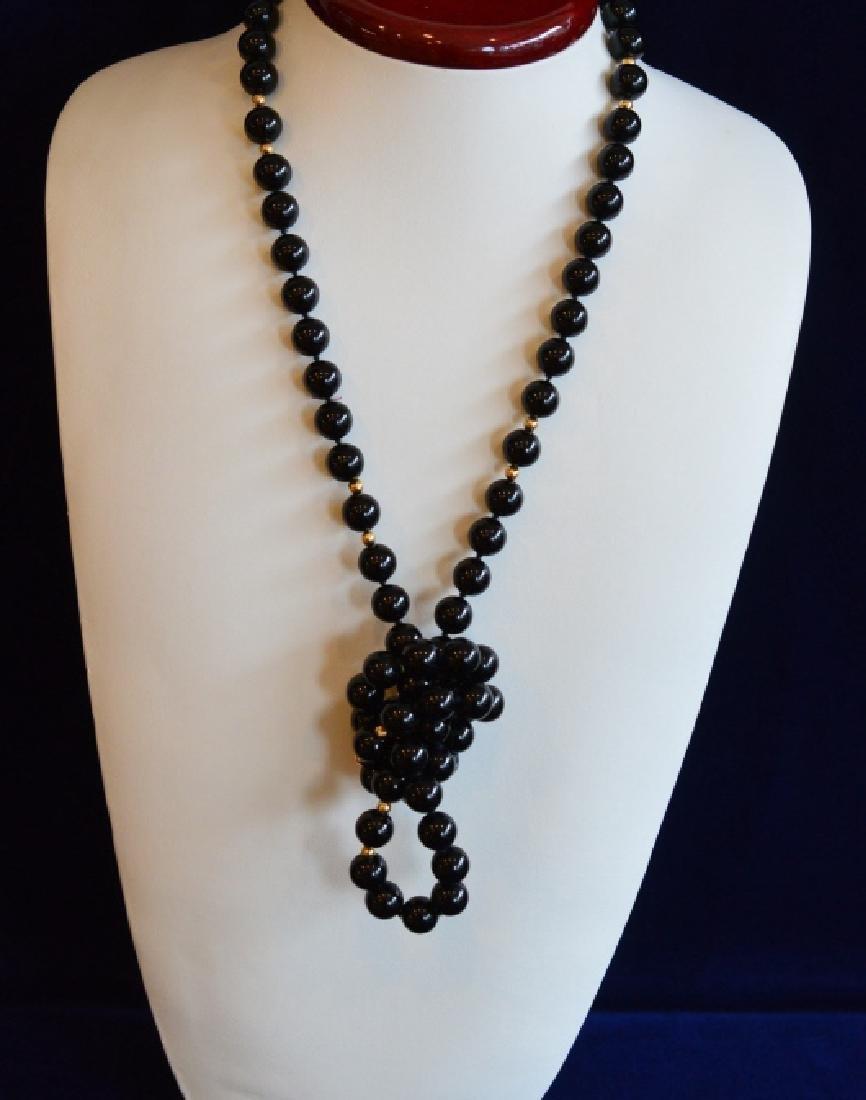 Single Strand Black Onyx Bead Necklace