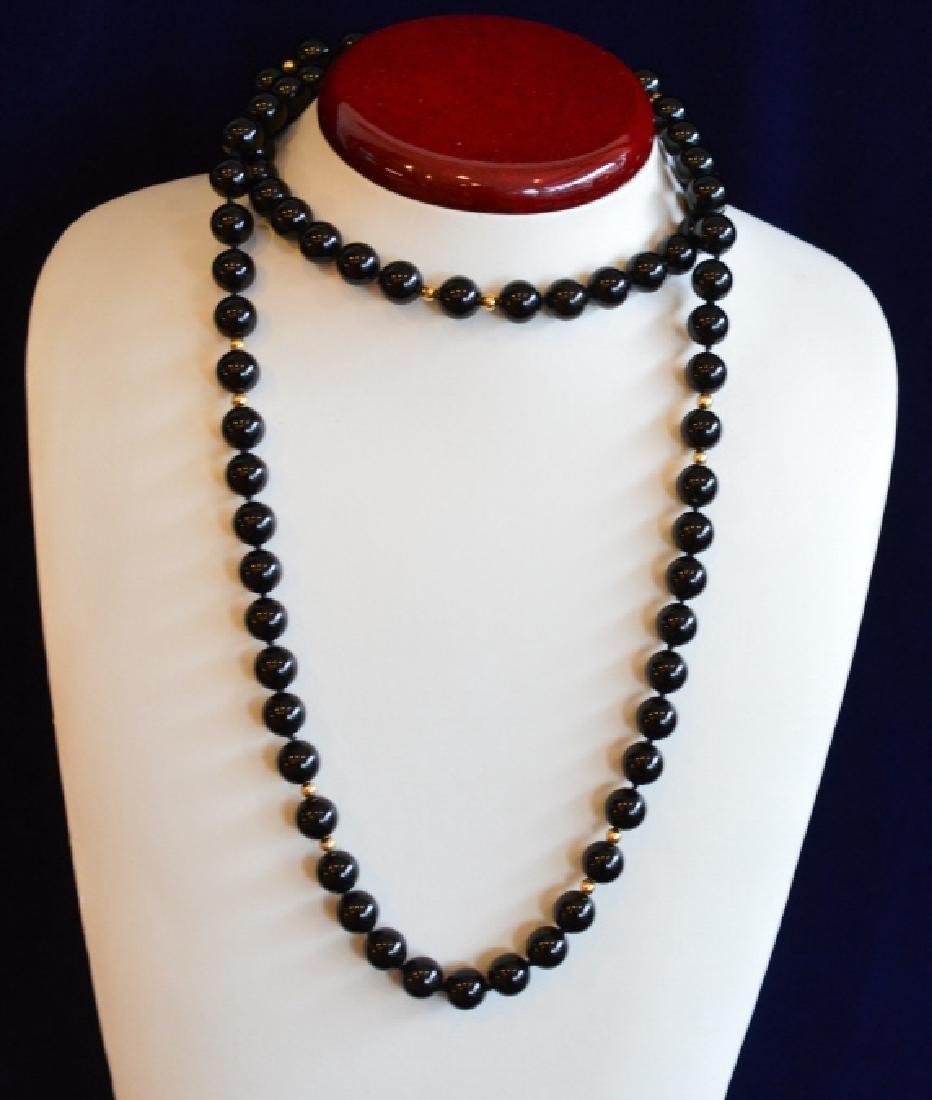 Single Strand Black Onyx Bead Necklace - 3