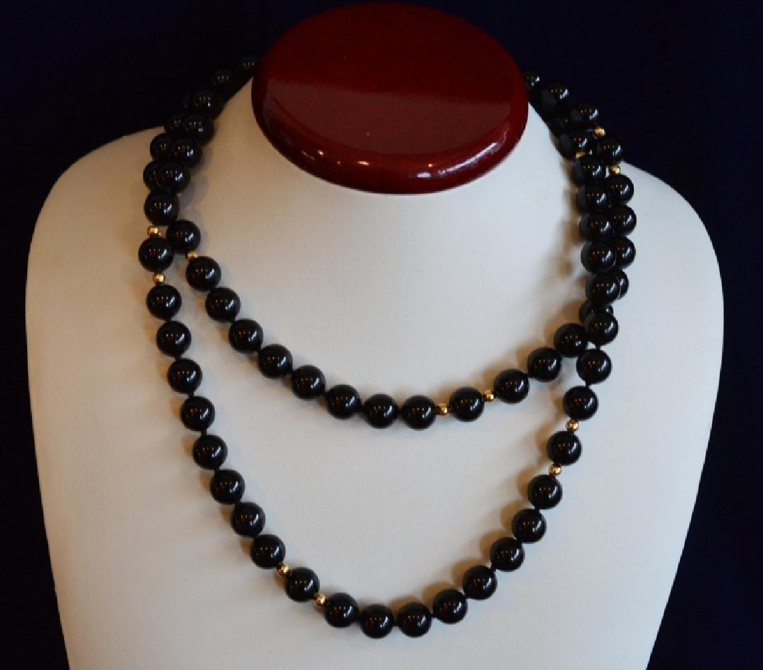 Single Strand Black Onyx Bead Necklace - 4