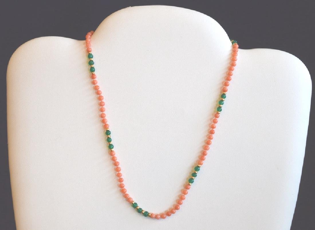 Coral Necklace with Green Accents Beads & Gold