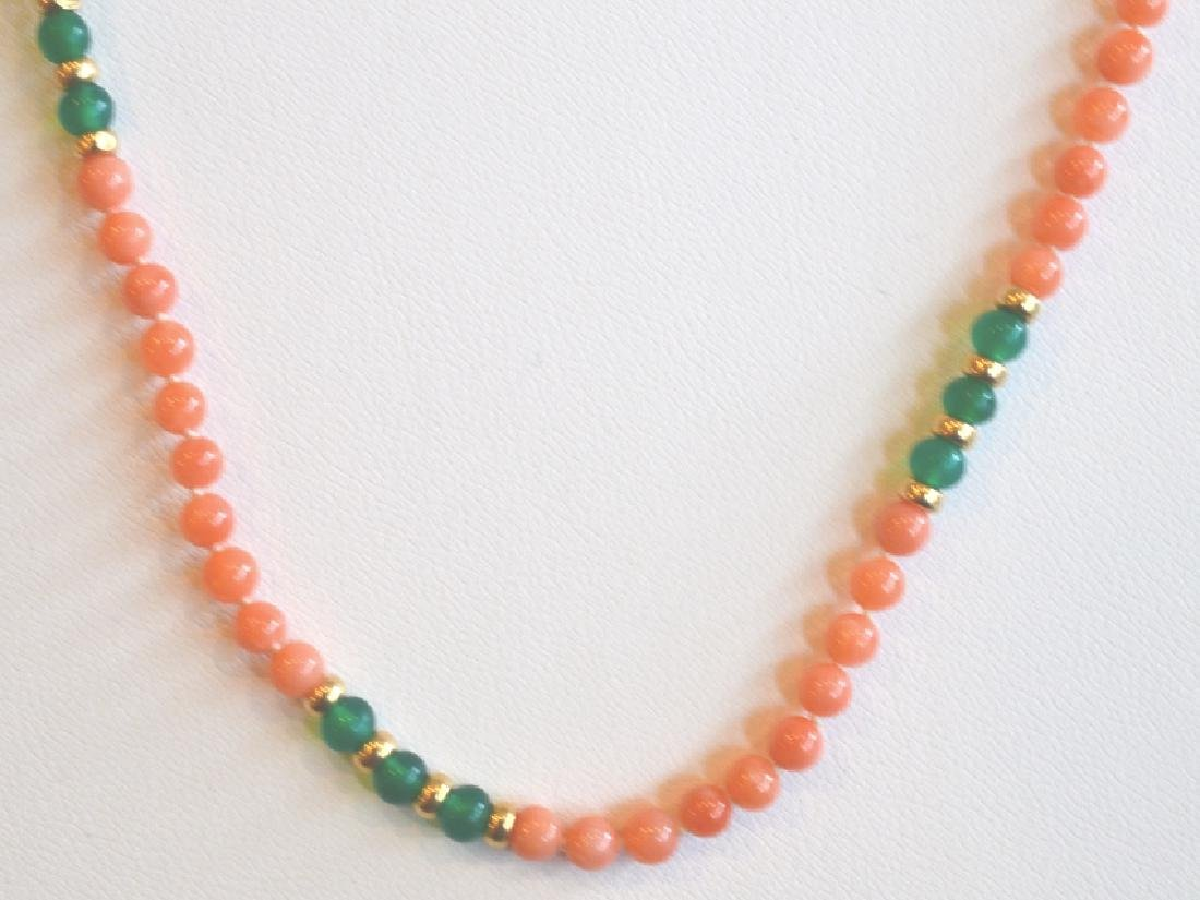 Coral Necklace with Green Accents Beads & Gold - 2