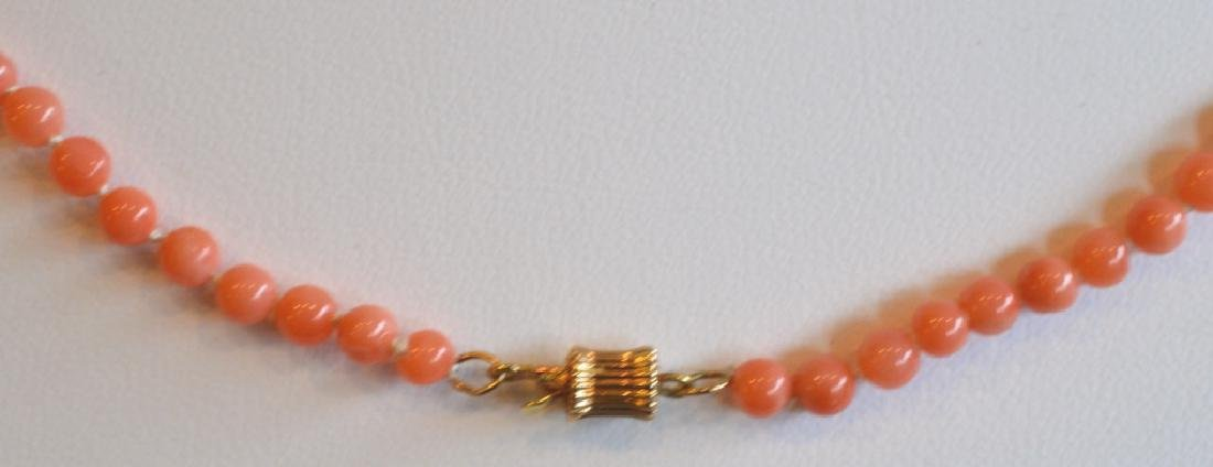 Coral Necklace with Green Accents Beads & Gold - 3