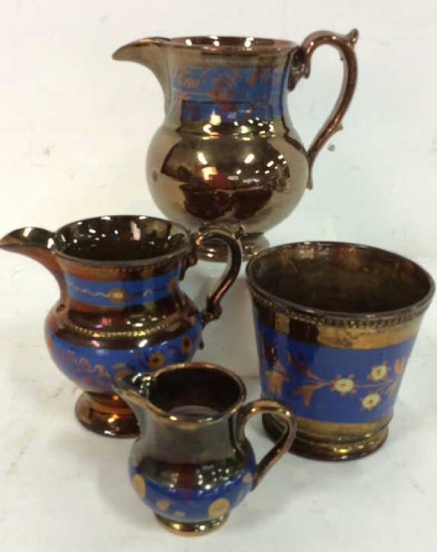 Group Antique English Copper Luster - 2
