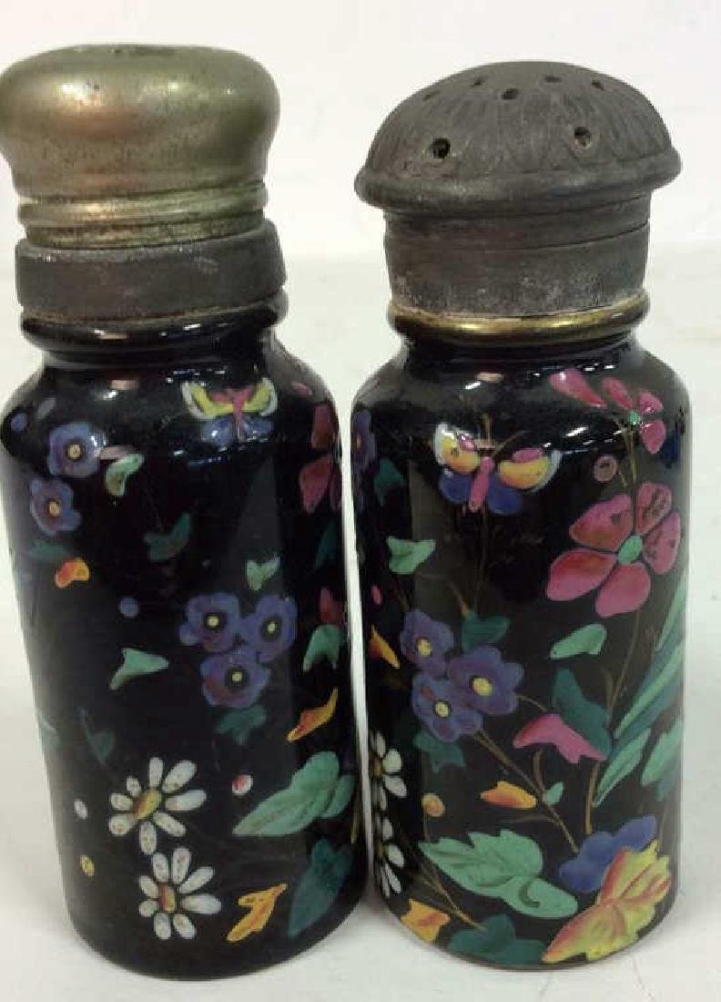 Antique Pair Enameled Lidded Jars