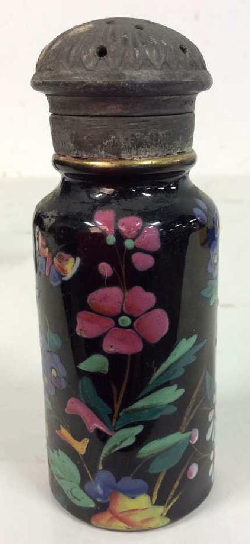 Antique Pair Enameled Lidded Jars - 6