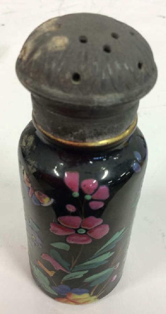 Antique Pair Enameled Lidded Jars - 7