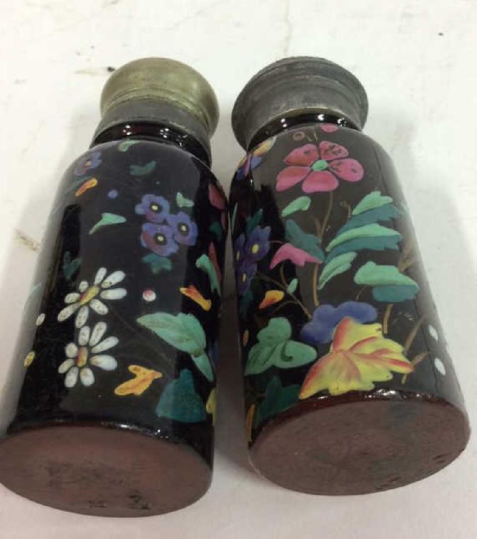 Antique Pair Enameled Lidded Jars - 8