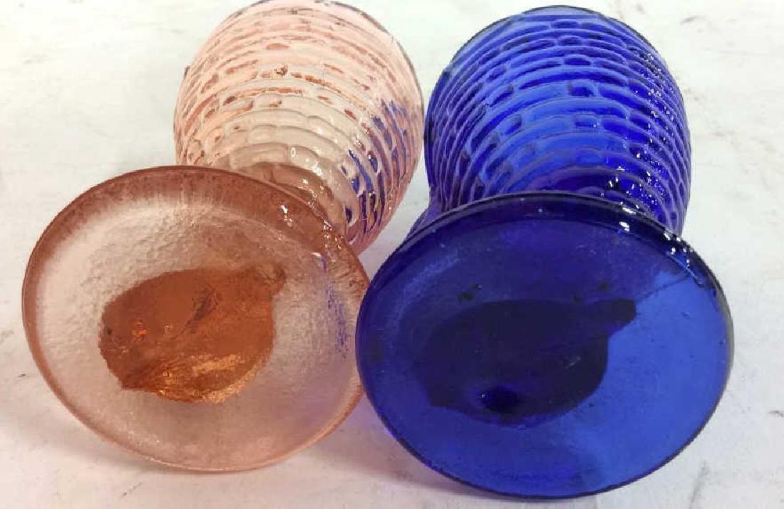 Vintage Blue Pink Rabbit Glass Egg Cuos - 4