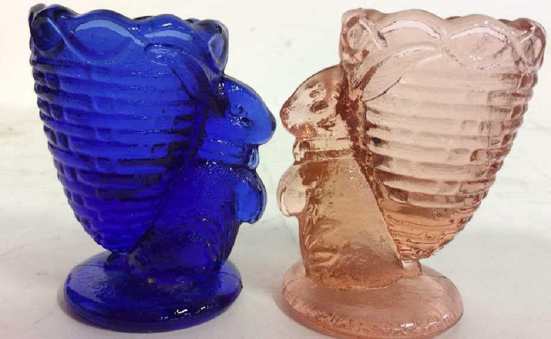 Vintage Blue Pink Rabbit Glass Egg Cuos - 9