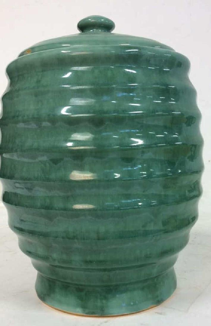 American Art Pottery Aqua Cookie Jar - 10